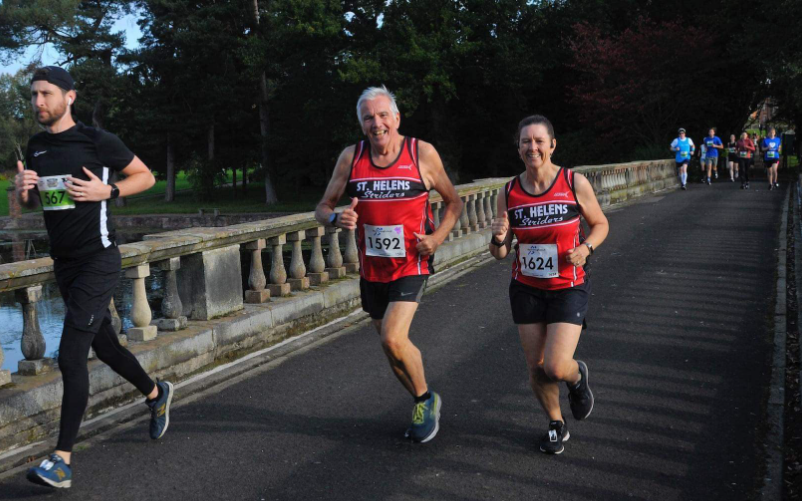 John Barr and Sharon Swift all smiles at the Cheshire Half Marathon